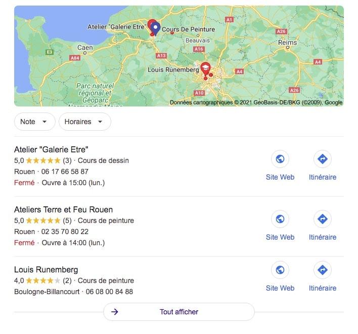 google, recherche, pack local