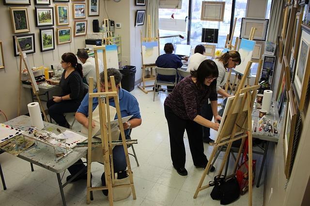 cours, peinture, étudiants